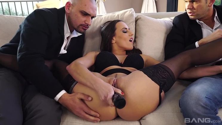 Mia Melone gets used in all her holes by boss and business partners