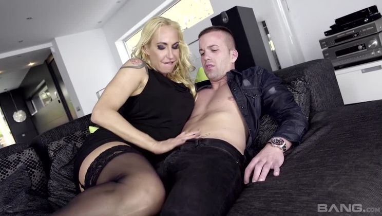 Sophie Evans gets guy half her age to fuck and spunk her