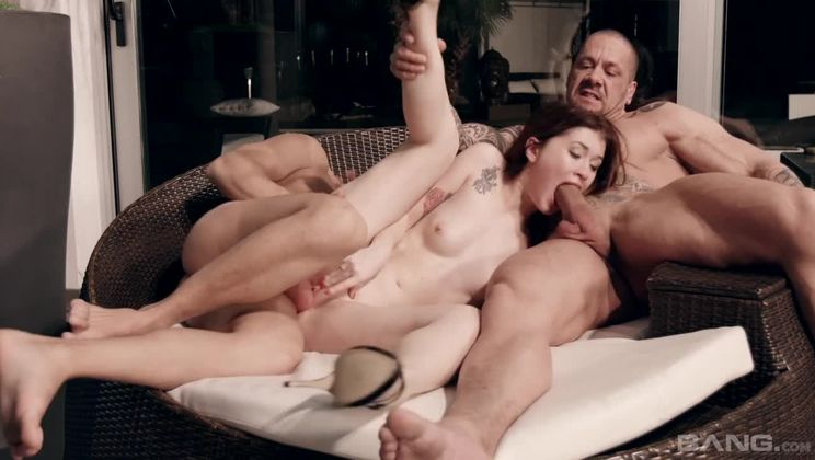Misha Cross takes two cocks as part of her maid duties