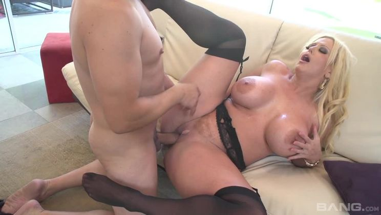 Alura Jenson gets a man milk mustache after taking a facial
